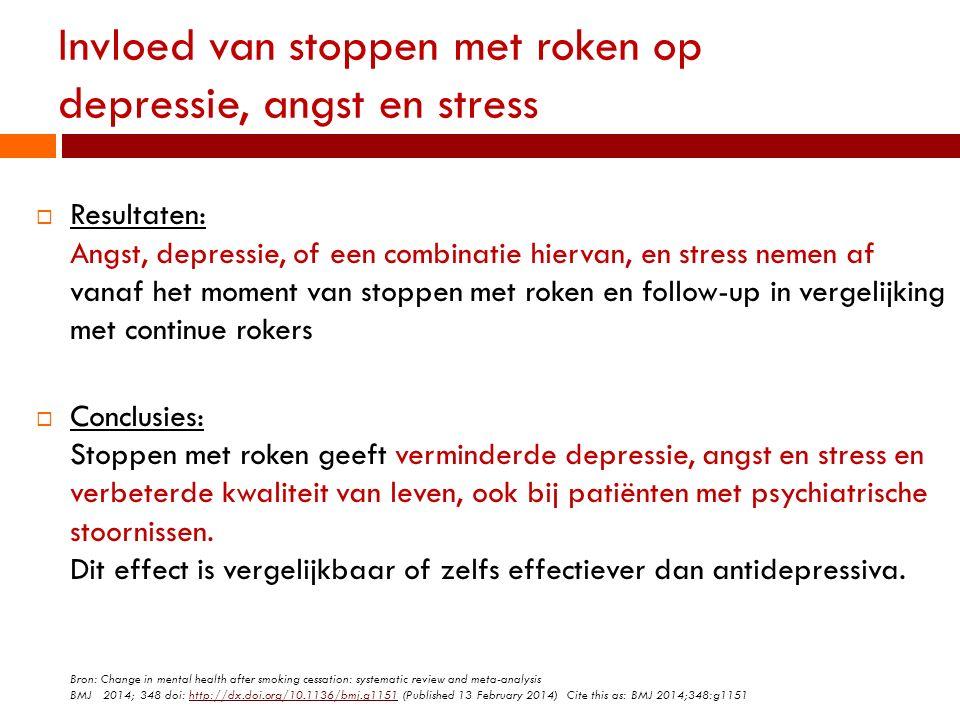 Invloed van stoppen met roken op depressie, angst en stress  Resultaten: Angst, depressie, of een combinatie hiervan, en stress nemen af vanaf het mo