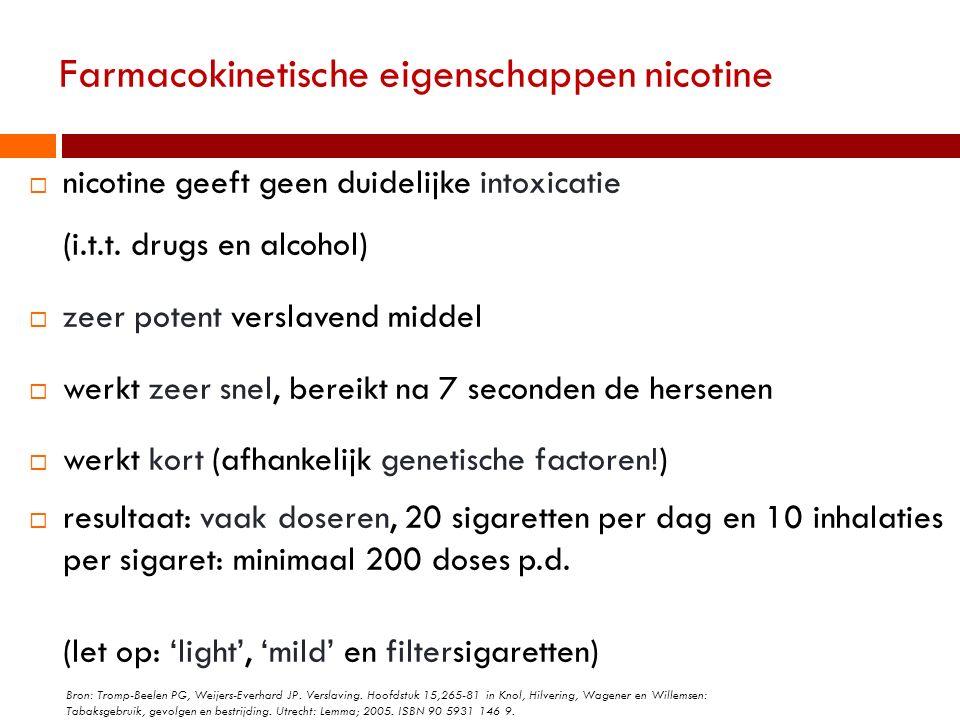 Farmacokinetische eigenschappen nicotine  nicotine geeft geen duidelijke intoxicatie (i.t.t. drugs en alcohol)  zeer potent verslavend middel  werk