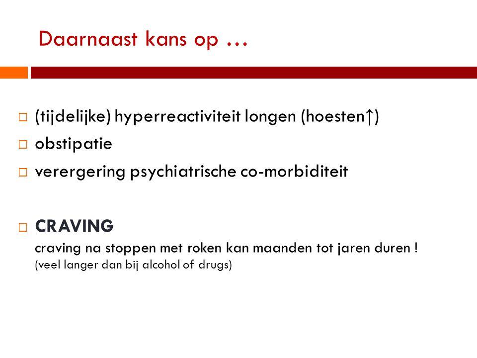 Daarnaast kans op …  (tijdelijke) hyperreactiviteit longen (hoesten ↑ )  obstipatie  verergering psychiatrische co-morbiditeit  CRAVING craving na