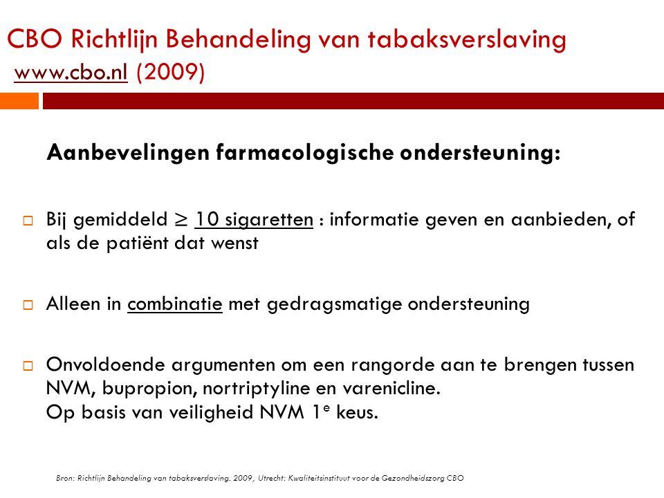 CBO Richtlijn Behandeling van tabaksverslaving www.cbo.nl (2009)www.cbo.nl Aanbevelingen farmacologische ondersteuning:  Bij gemiddeld ≥ 10 sigarette