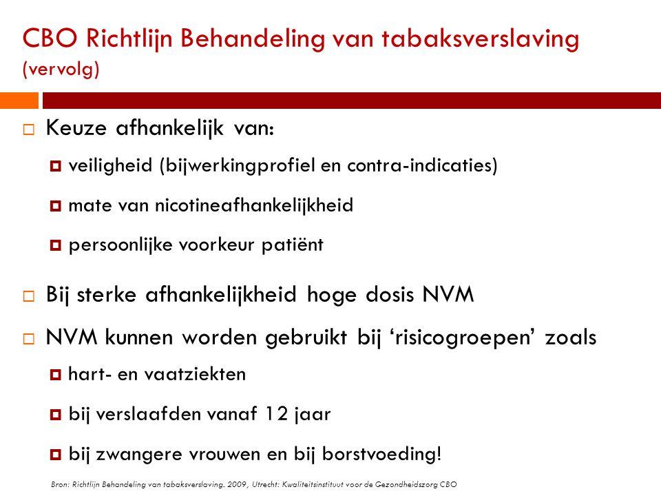 CBO Richtlijn Behandeling van tabaksverslaving (vervolg)  Keuze afhankelijk van:  veiligheid (bijwerkingprofiel en contra-indicaties)  mate van nic