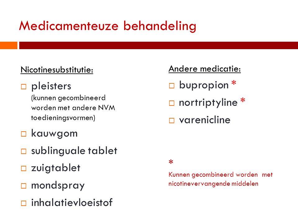 Medicamenteuze behandeling Nicotinesubstitutie:  pleisters (kunnen gecombineerd worden met andere NVM toedieningsvormen)  kauwgom  sublinguale tabl