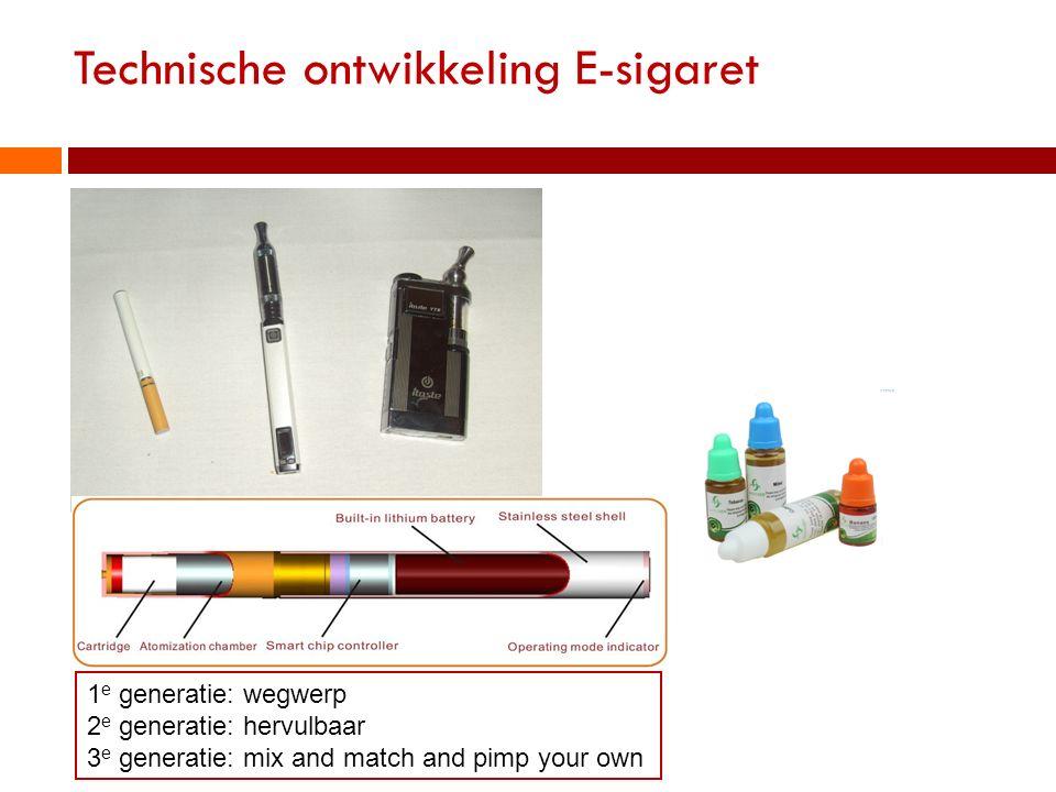 Technische ontwikkeling E-sigaret 1 e generatie: wegwerp 2 e generatie: hervulbaar 3 e generatie: mix and match and pimp your own