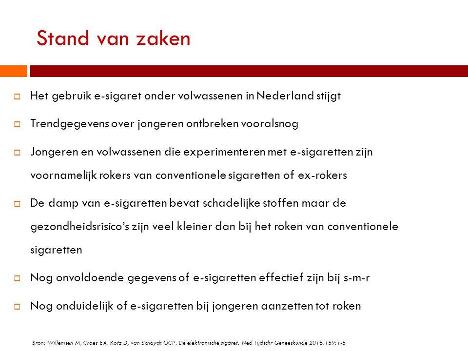 Stand van zaken  Het gebruik e-sigaret onder volwassenen in Nederland stijgt  Trendgegevens over jongeren ontbreken vooralsnog  Jongeren en volwass
