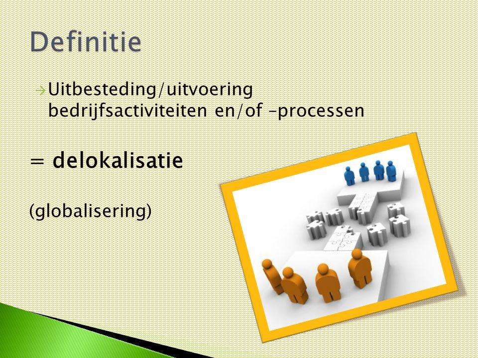 Uitbesteding/uitvoering bedrijfsactiviteiten en/of –processen = delokalisatie (globalisering)