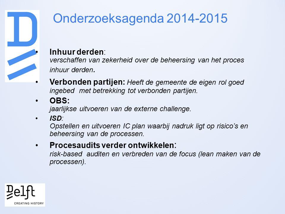 Onderzoeksagenda 2014-2015 Inhuur derden: verschaffen van zekerheid over de beheersing van het proces inhuur derden.