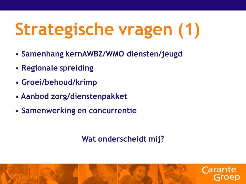 Strategische vragen (1) Samenhang kernAWBZ/WMO diensten/jeugd Regionale spreiding Groei/behoud/krimp Aanbod zorg/dienstenpakket Samenwerking en concurrentie Wat onderscheidt mij