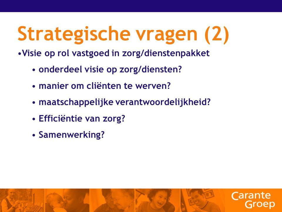 Strategische vragen (2) Visie op rol vastgoed in zorg/dienstenpakket onderdeel visie op zorg/diensten.