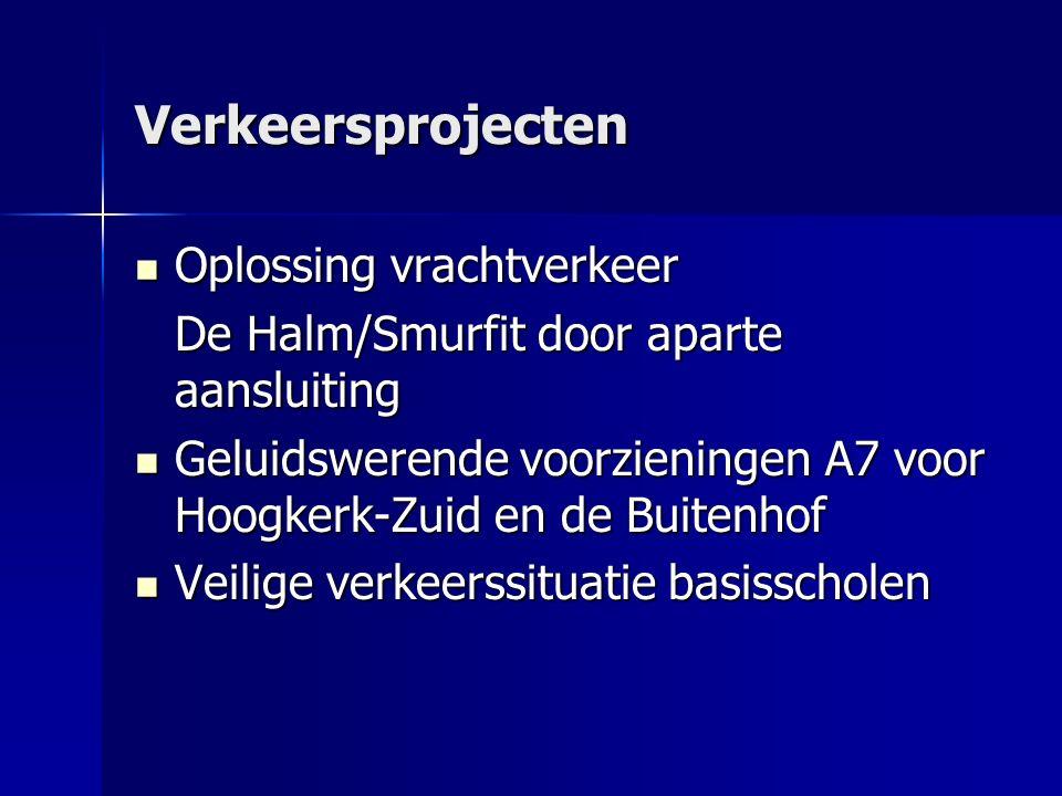 Verkeersprojecten Oplossing vrachtverkeer Oplossing vrachtverkeer De Halm/Smurfit door aparte aansluiting Geluidswerende voorzieningen A7 voor Hoogkerk-Zuid en de Buitenhof Geluidswerende voorzieningen A7 voor Hoogkerk-Zuid en de Buitenhof Veilige verkeerssituatie basisscholen Veilige verkeerssituatie basisscholen