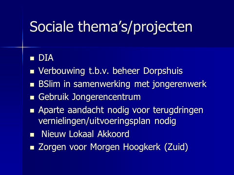 Sociale thema's/projecten DIA DIA Verbouwing t.b.v.