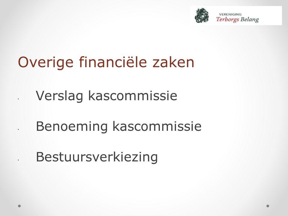 Overige financiële zaken Verslag kascommissie Benoeming kascommissie Bestuursverkiezing