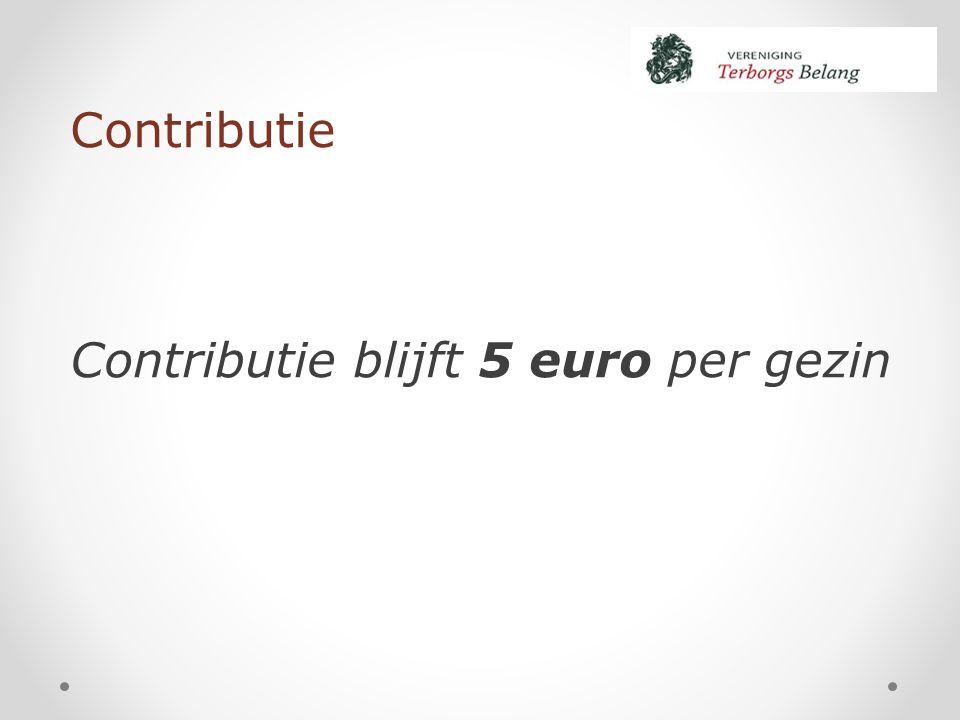 Contributie Contributie blijft 5 euro per gezin