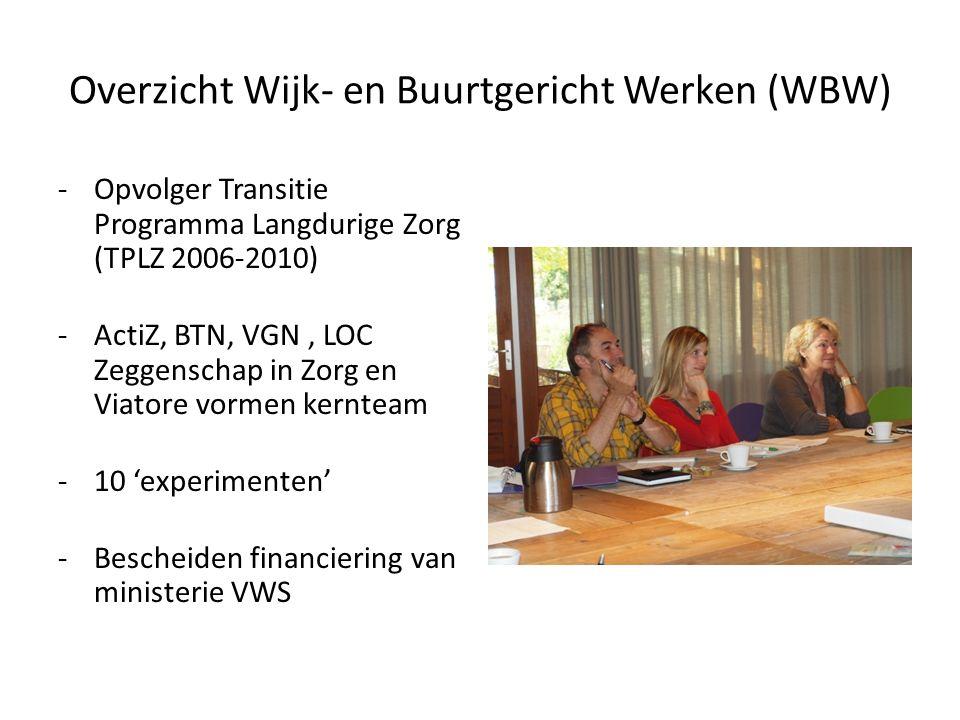 Overzicht Wijk- en Buurtgericht Werken (WBW) -Opvolger Transitie Programma Langdurige Zorg (TPLZ 2006-2010) -ActiZ, BTN, VGN, LOC Zeggenschap in Zorg en Viatore vormen kernteam -10 'experimenten' -Bescheiden financiering van ministerie VWS