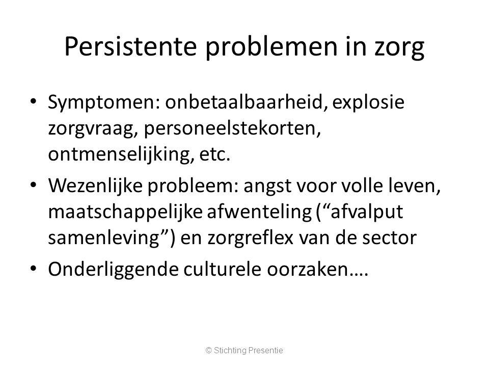 Persistente problemen in zorg Symptomen: onbetaalbaarheid, explosie zorgvraag, personeelstekorten, ontmenselijking, etc.