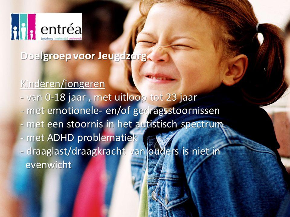 Doelgroep voor Jeugdzorg Kinderen/jongeren - van 0-18 jaar, met uitloop tot 23 jaar - met emotionele- en/of gedragsstoornissen - met een stoornis in het autistisch spectrum - met ADHD problematiek - draaglast/draagkracht van ouders is niet in evenwicht