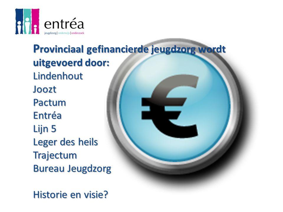 P rovinciaal gefinancierde jeugdzorg wordt uitgevoerd door: Lindenhout Joozt Pactum Entréa Lijn 5 Leger des heils Trajectum Bureau Jeugdzorg Historie en visie