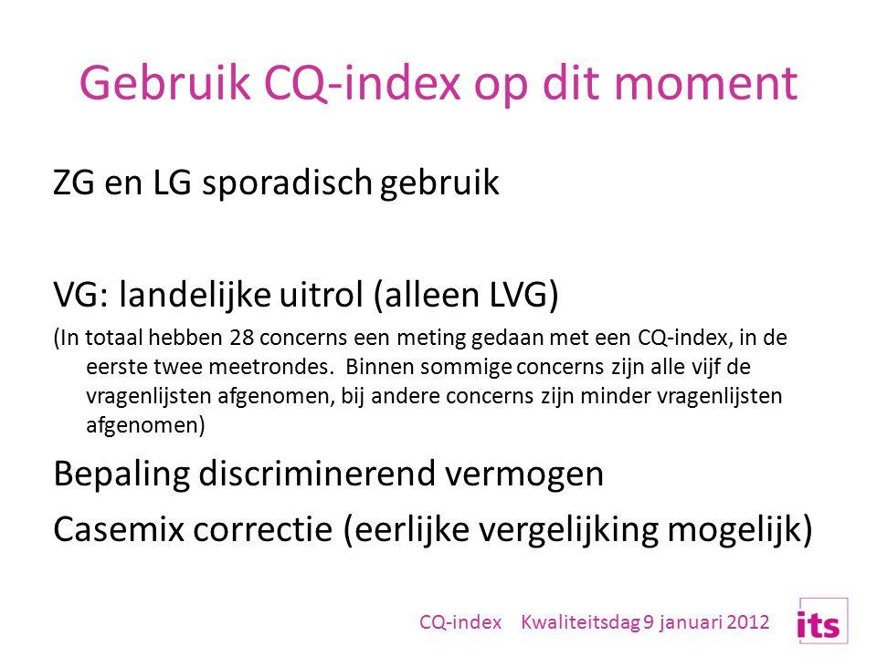 Gebruik CQ-index op dit moment ZG en LG sporadisch gebruik VG: landelijke uitrol (alleen LVG) (In totaal hebben 28 concerns een meting gedaan met een CQ-index, in de eerste twee meetrondes.