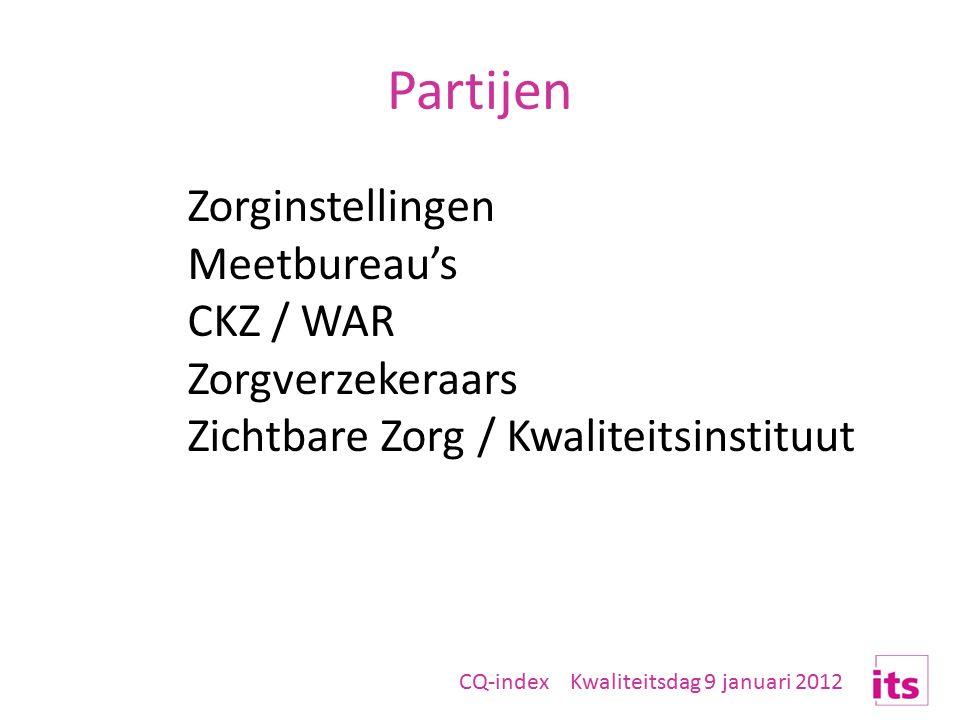 Partijen Zorginstellingen Meetbureau's CKZ / WAR Zorgverzekeraars Zichtbare Zorg / Kwaliteitsinstituut CQ-index Kwaliteitsdag 9 januari 2012