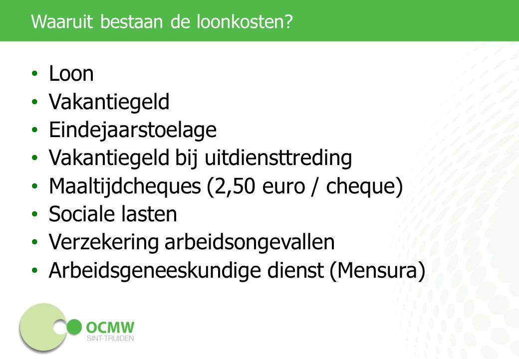 Waaruit bestaan de loonkosten? Loon Vakantiegeld Eindejaarstoelage Vakantiegeld bij uitdiensttreding Maaltijdcheques (2,50 euro / cheque) Sociale last
