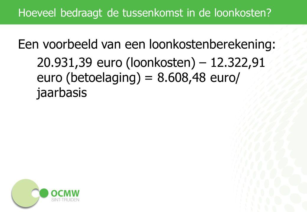 Hoeveel bedraagt de tussenkomst in de loonkosten? Een voorbeeld van een loonkostenberekening: 20.931,39 euro (loonkosten) – 12.322,91 euro (betoelagin