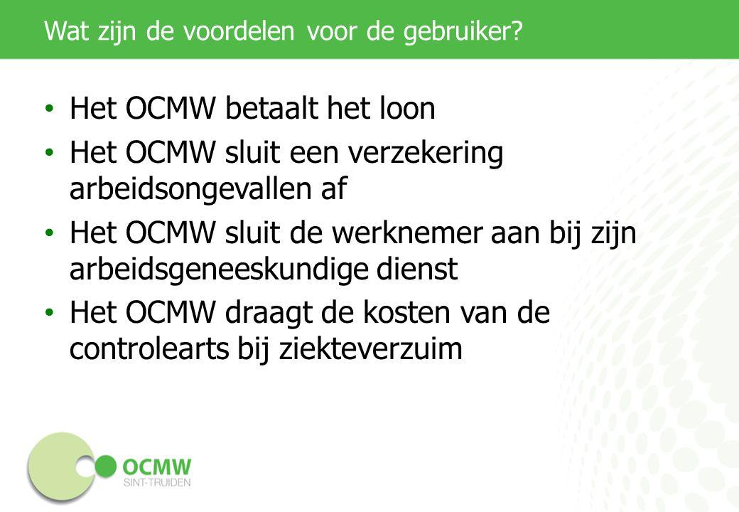 Wat zijn de voordelen voor de gebruiker? Het OCMW betaalt het loon Het OCMW sluit een verzekering arbeidsongevallen af Het OCMW sluit de werknemer aan