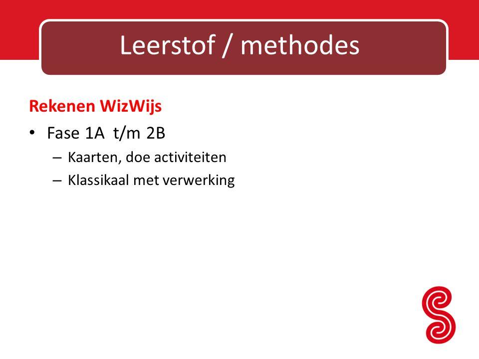 Leerstof / methodes Rekenen WizWijs Fase 1A t/m 2B – Kaarten, doe activiteiten – Klassikaal met verwerking