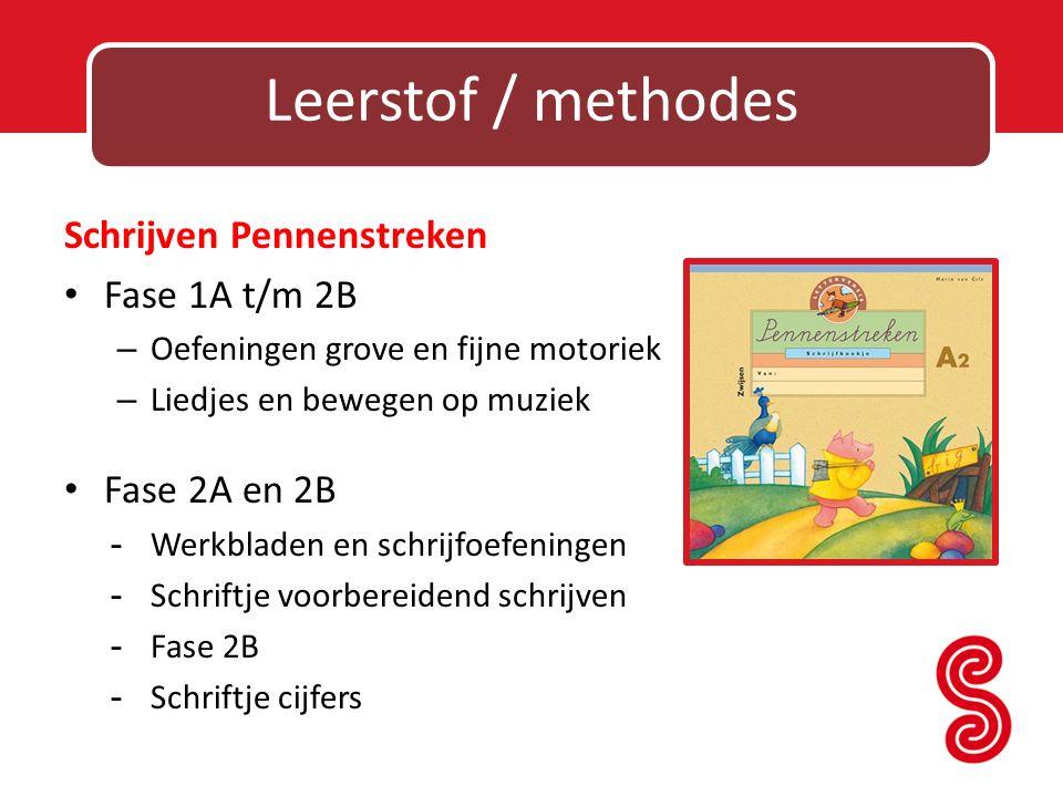 Leerstof / methodes Schrijven Pennenstreken Fase 1A t/m 2B – Oefeningen grove en fijne motoriek – Liedjes en bewegen op muziek Fase 2A en 2B - Werkbla
