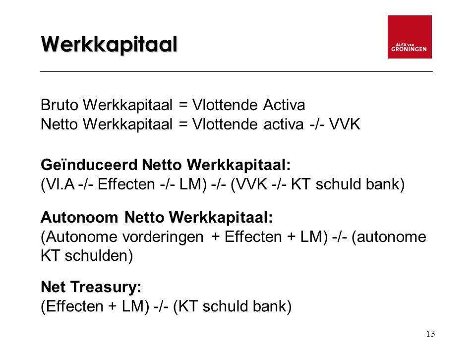 13 Werkkapitaal Bruto Werkkapitaal = Vlottende Activa Netto Werkkapitaal = Vlottende activa -/- VVK Geïnduceerd Netto Werkkapitaal: (Vl.A -/- Effecten -/- LM) -/- (VVK -/- KT schuld bank) Autonoom Netto Werkkapitaal: (Autonome vorderingen + Effecten + LM) -/- (autonome KT schulden) Net Treasury: (Effecten + LM) -/- (KT schuld bank)