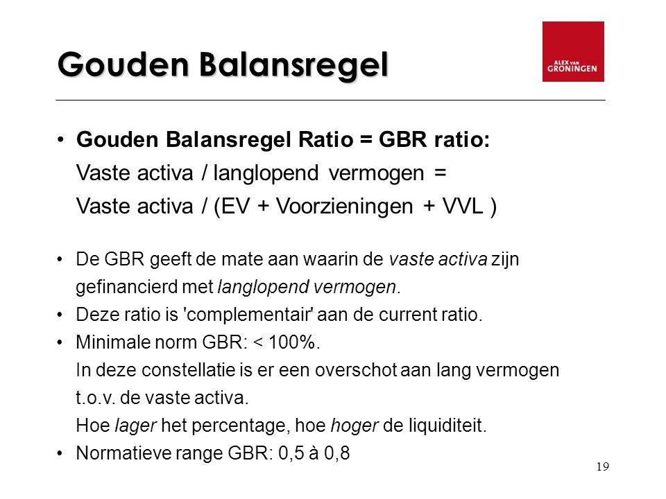 19 Gouden Balansregel Gouden Balansregel Ratio = GBR ratio: Vaste activa / langlopend vermogen = Vaste activa / (EV + Voorzieningen + VVL ) De GBR geeft de mate aan waarin de vaste activa zijn gefinancierd met langlopend vermogen.