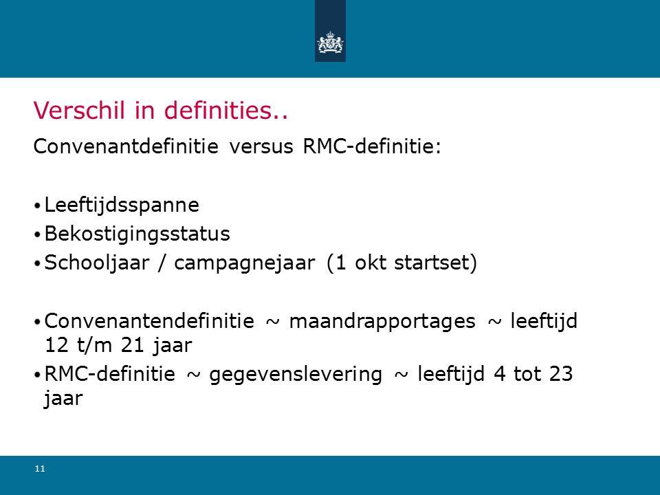 11 Verschil in definities.. Convenantdefinitie versus RMC-definitie: Leeftijdsspanne Bekostigingsstatus Schooljaar / campagnejaar (1 okt startset) Con