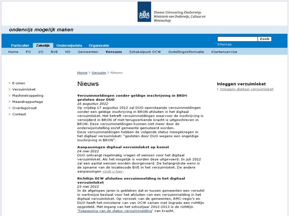 12 Communicatie www.DUO.nlwww.DUO.nl ~ Zakelijk ~ Verzuim / Gemeenten Contactinformatie – nieuwsbrief – Verzuimloket en 'm2m' – maandrapportages - ove