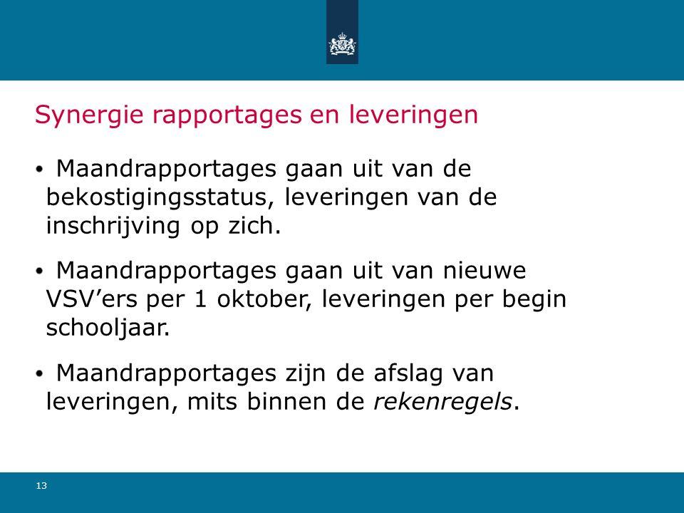 13 Synergie rapportages en leveringen Maandrapportages gaan uit van de bekostigingsstatus, leveringen van de inschrijving op zich. Maandrapportages ga