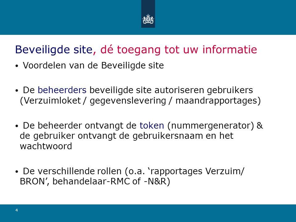 4 Beveiligde site, dé toegang tot uw informatie Voordelen van de Beveiligde site De beheerders beveiligde site autoriseren gebruikers (Verzuimloket /