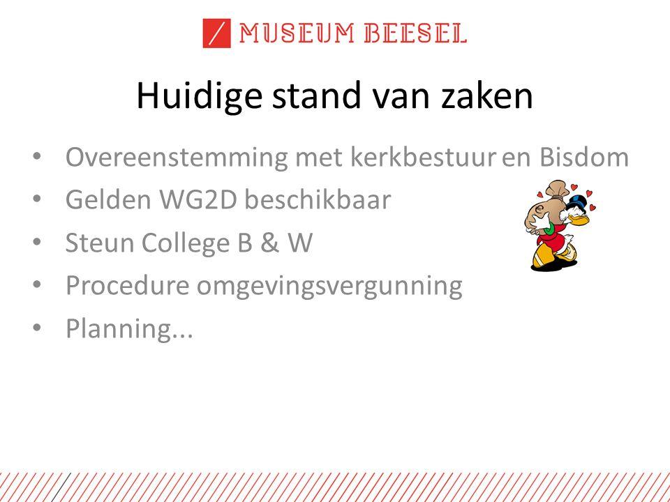 Huidige stand van zaken Overeenstemming met kerkbestuur en Bisdom Gelden WG2D beschikbaar Steun College B & W Procedure omgevingsvergunning Planning...