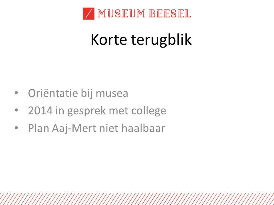 Korte terugblik Oriëntatie bij musea 2014 in gesprek met college Plan Aaj-Mert niet haalbaar