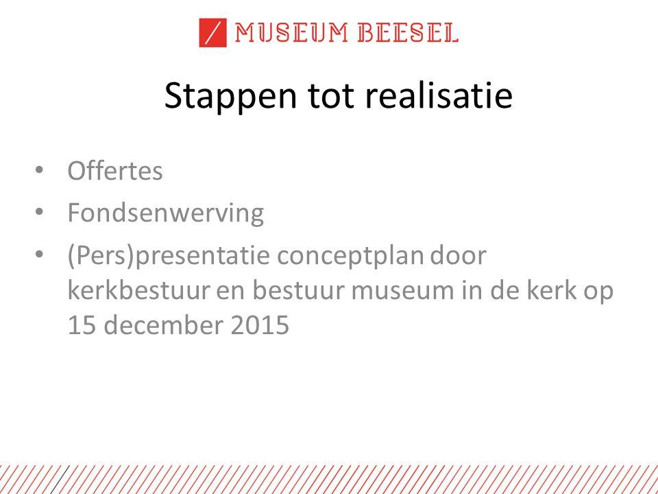 Stappen tot realisatie Offertes Fondsenwerving (Pers)presentatie conceptplan door kerkbestuur en bestuur museum in de kerk op 15 december 2015