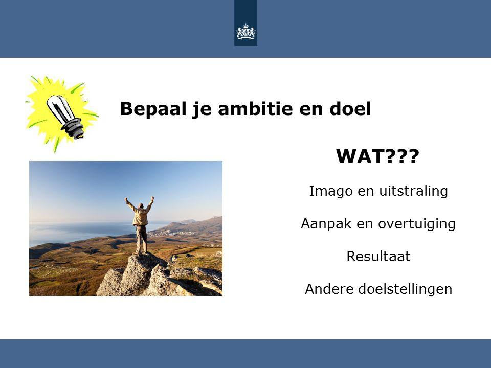 Bepaal je ambitie en doel HOE??.