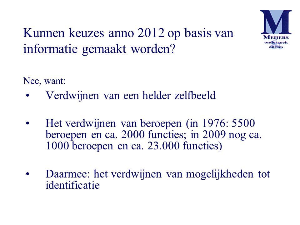 Verdwijnen van een helder zelfbeeld Het verdwijnen van beroepen (in 1976: 5500 beroepen en ca. 2000 functies; in 2009 nog ca. 1000 beroepen en ca. 23.