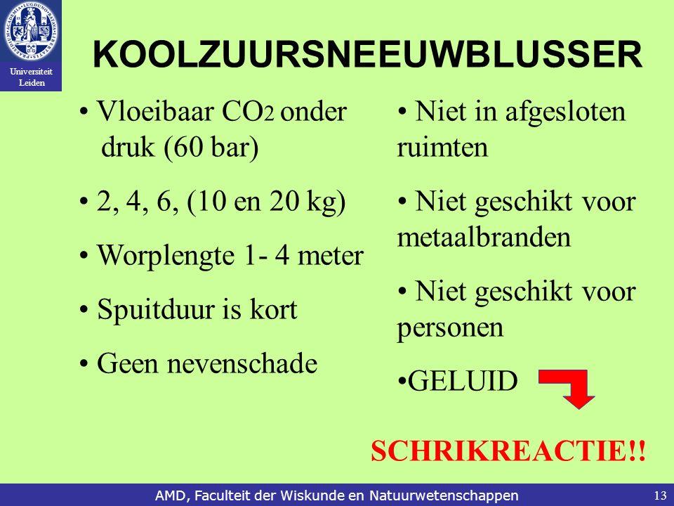 Universiteit Leiden AMD, Faculteit der Wiskunde en Natuurwetenschappen13 KOOLZUURSNEEUWBLUSSER Vloeibaar CO 2 onder druk (60 bar) 2, 4, 6, (10 en 20 k