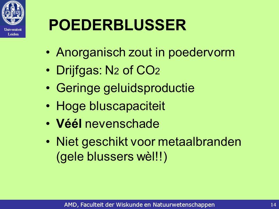 Universiteit Leiden AMD, Faculteit der Wiskunde en Natuurwetenschappen14 POEDERBLUSSER Anorganisch zout in poedervorm Drijfgas: N 2 of CO 2 Geringe ge