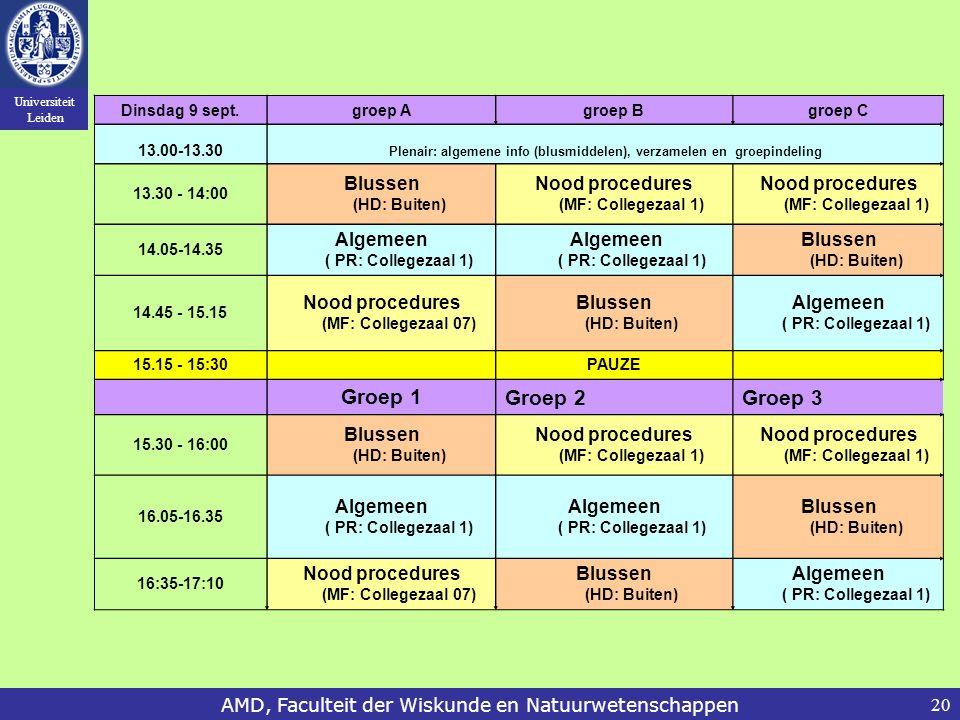 Universiteit Leiden AMD, Faculteit der Wiskunde en Natuurwetenschappen20 Dinsdag 9 sept.groep Agroep Bgroep C 13.00-13.30 Plenair: algemene info (blus