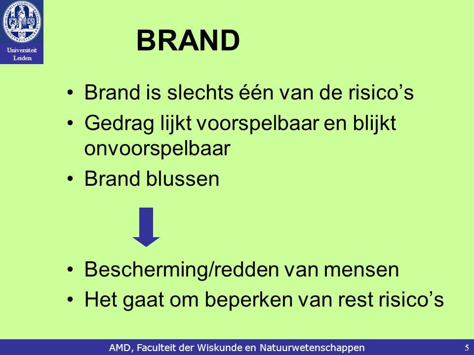 Universiteit Leiden AMD, Faculteit der Wiskunde en Natuurwetenschappen5 BRAND Brand is slechts één van de risico's Gedrag lijkt voorspelbaar en blijkt