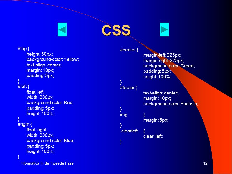 12Informatica in de Tweede Fase CSS # top { height: 50px; background-color: Yellow; text-align: center; margin: 10px; padding: 5px; } #left { float: l