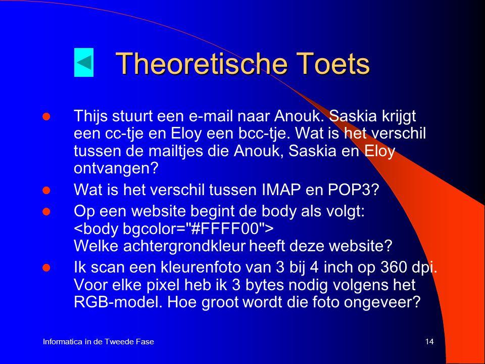 14Informatica in de Tweede Fase Theoretische Toets Thijs stuurt een e-mail naar Anouk.