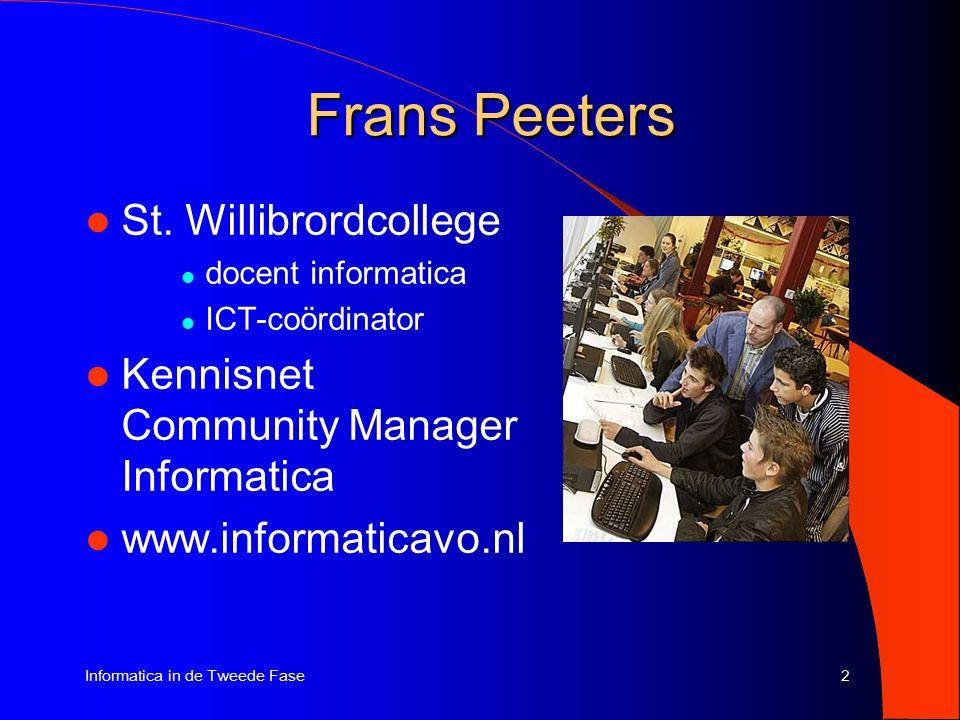 2Informatica in de Tweede Fase Frans Peeters St.