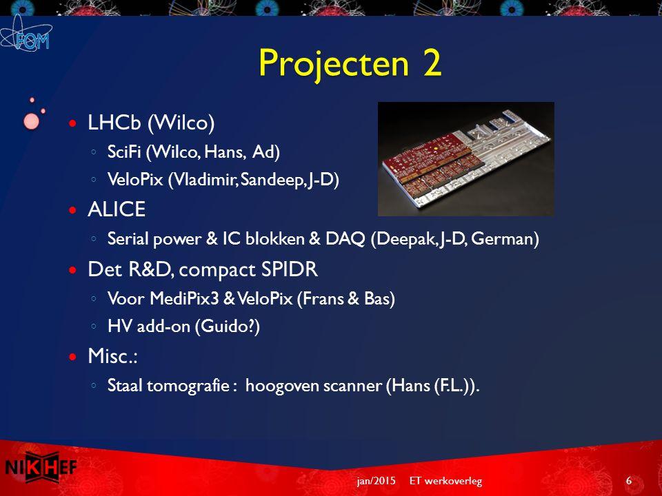 Projecten 2 LHCb (Wilco) ◦ SciFi (Wilco, Hans, Ad) ◦ VeloPix (Vladimir, Sandeep, J-D) ALICE ◦ Serial power & IC blokken & DAQ (Deepak, J-D, German) De