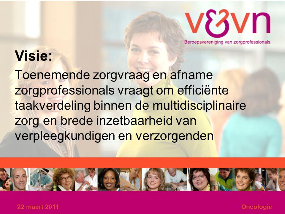 22 maart 2011Oncologie Visie: Toenemende zorgvraag en afname zorgprofessionals vraagt om efficiënte taakverdeling binnen de multidisciplinaire zorg en brede inzetbaarheid van verpleegkundigen en verzorgenden