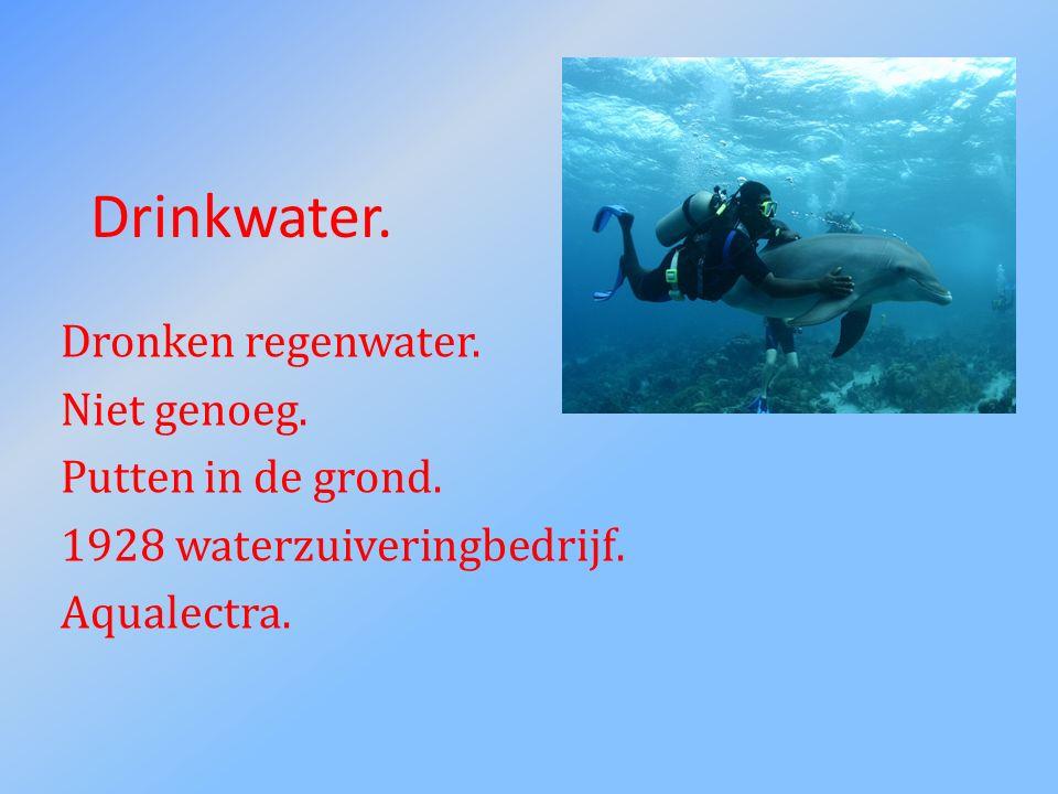 Drinkwater. Dronken regenwater. Niet genoeg. Putten in de grond. 1928 waterzuiveringbedrijf. Aqualectra.