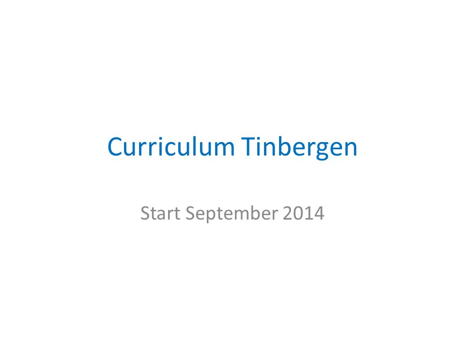 Curriculum Tinbergen Start September 2014