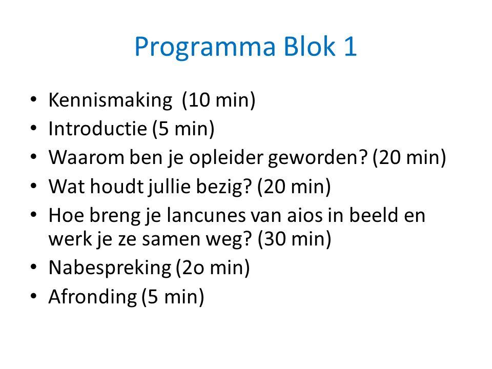 Programma Blok 1 Kennismaking (10 min) Introductie (5 min) Waarom ben je opleider geworden.